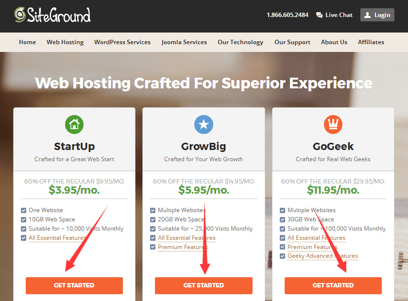 siteground主机托管方案