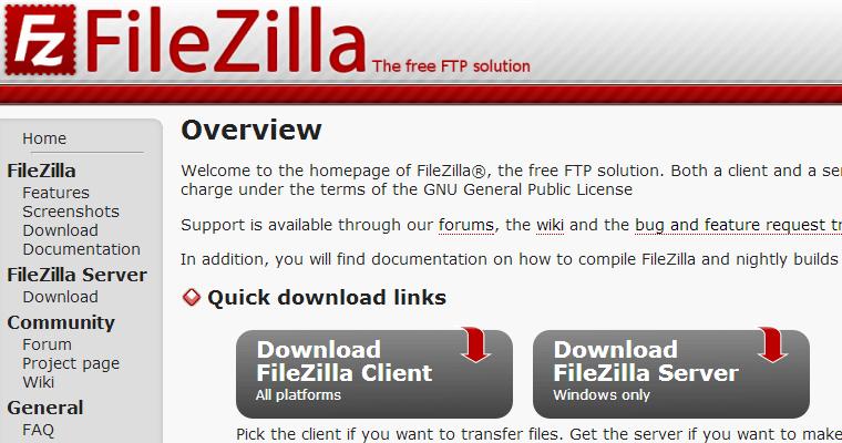 Filezilla主页
