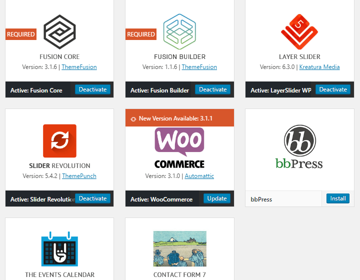 Avada theme plugins