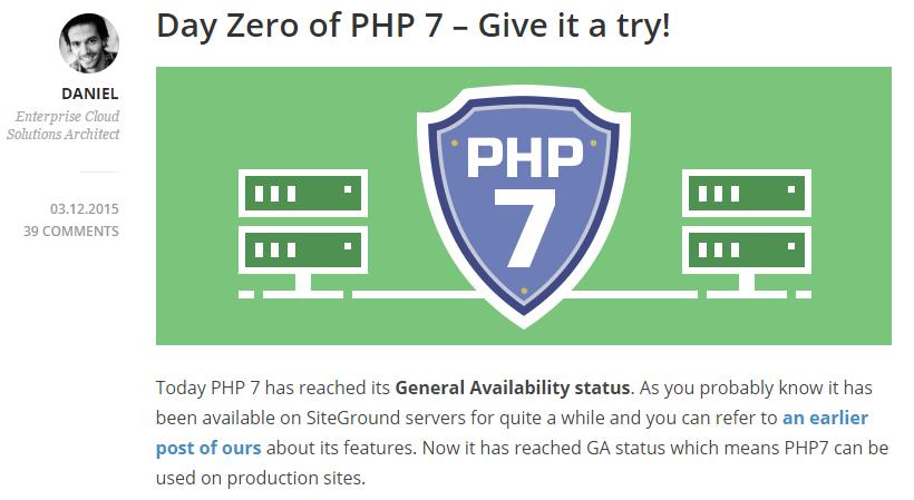 SiteGround PHP 7发布