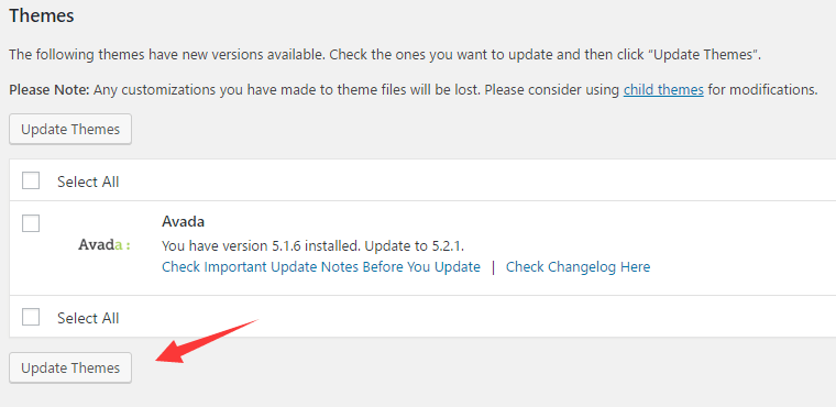 Avada主题自动更新