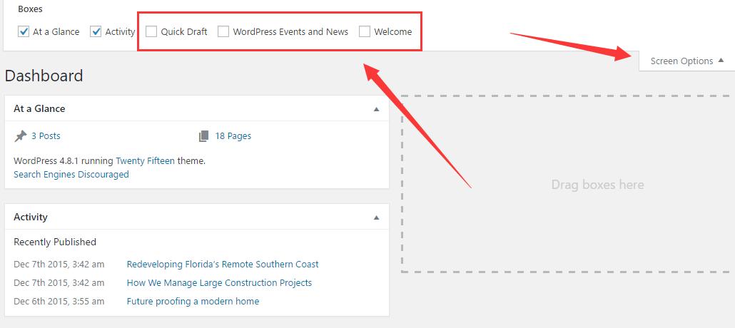WordPress后台首页显示内容设置