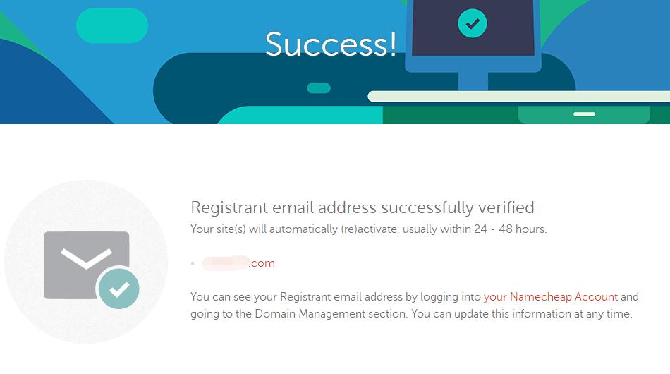 namecheap邮件确认成功