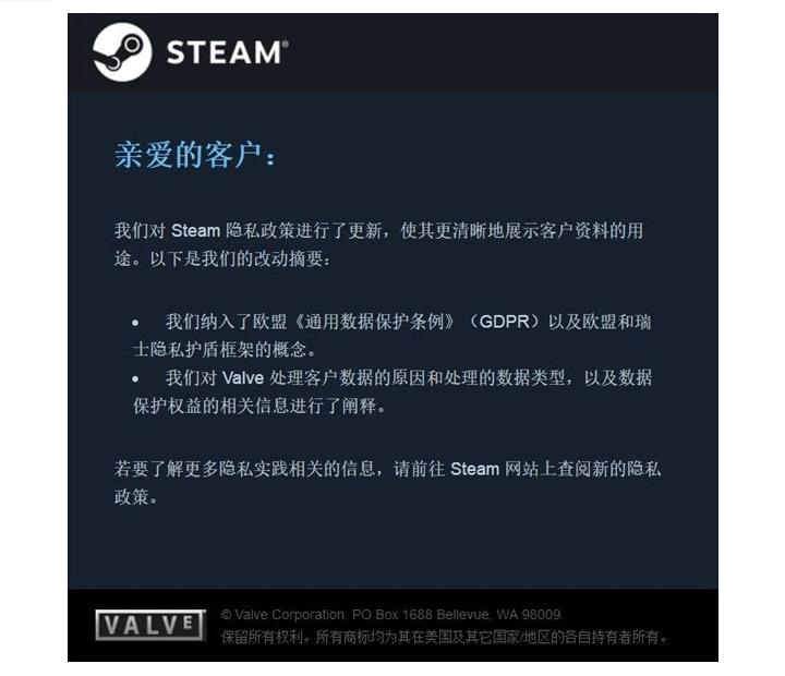 steam GDPR的声明