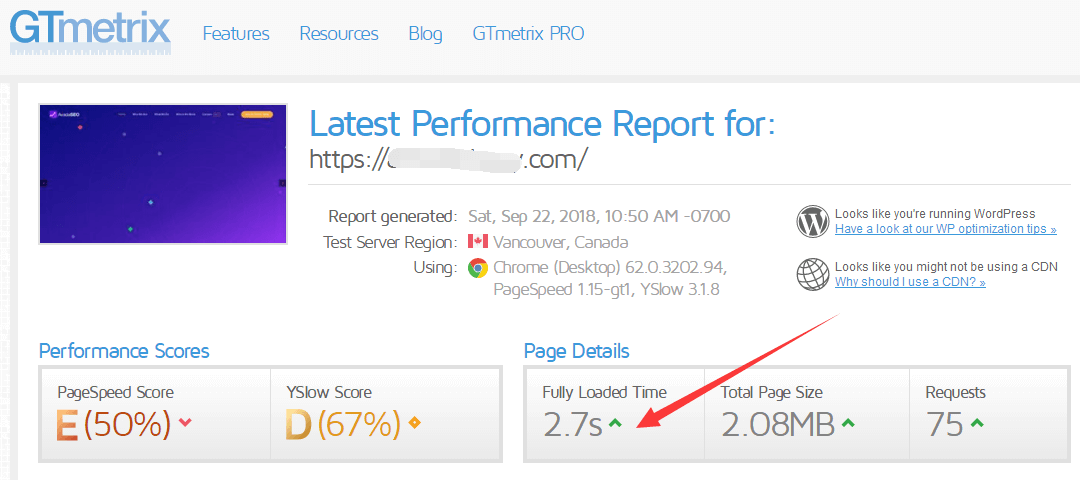 siteground GTmetrix测速 avada主题