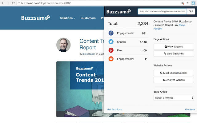 BuzzSumo chrome扩展
