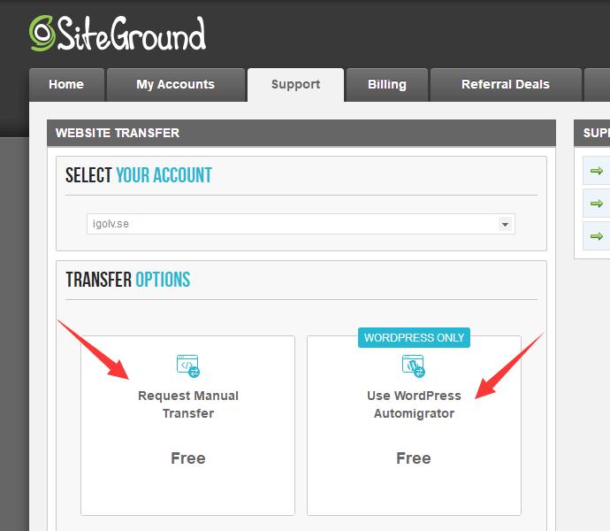 SiteGround网站搬家选项
