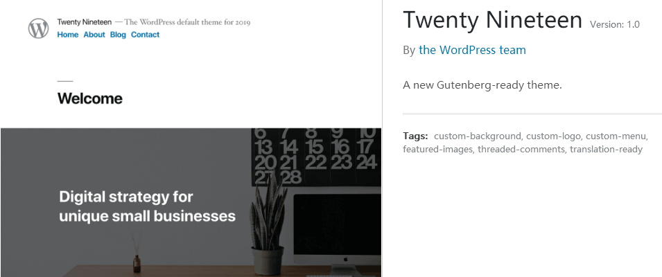 Twenty Nineteen主题