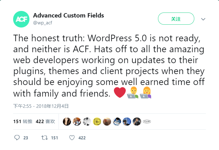 advanced custiom fields建议不要升级wordpress 5.0