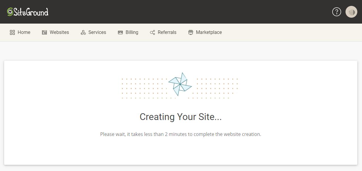 siteground正在创建新网站