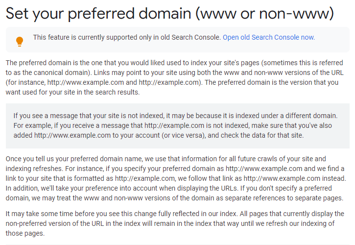 Set your preferred domain