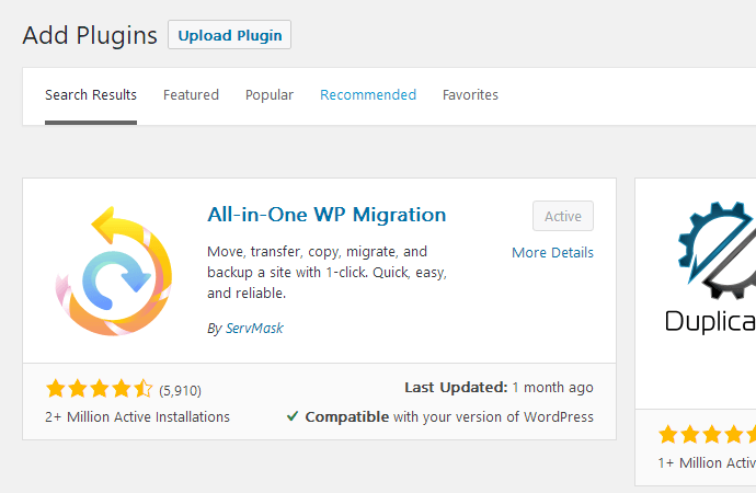 安装All-in-One WP Migration