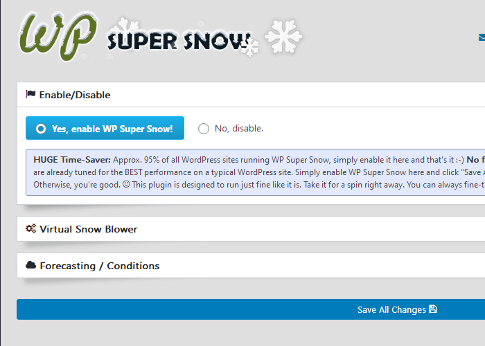 WP Super Snow设置