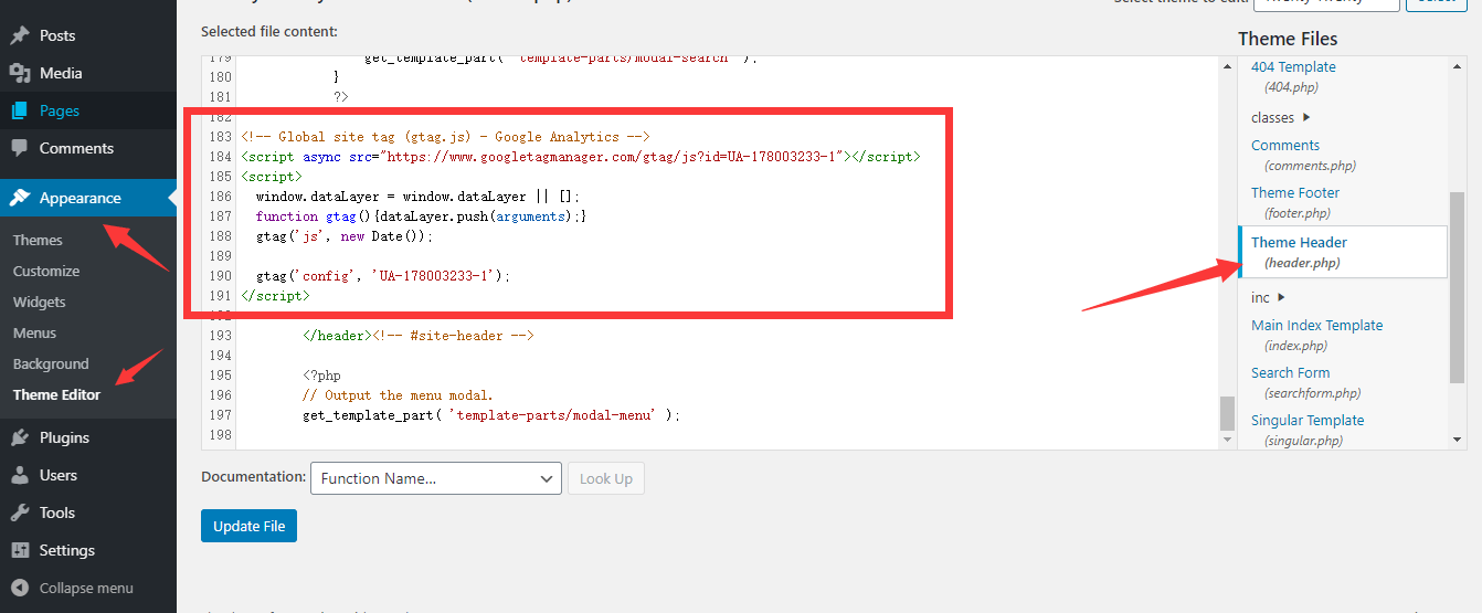 手动添加Google Analytics代码