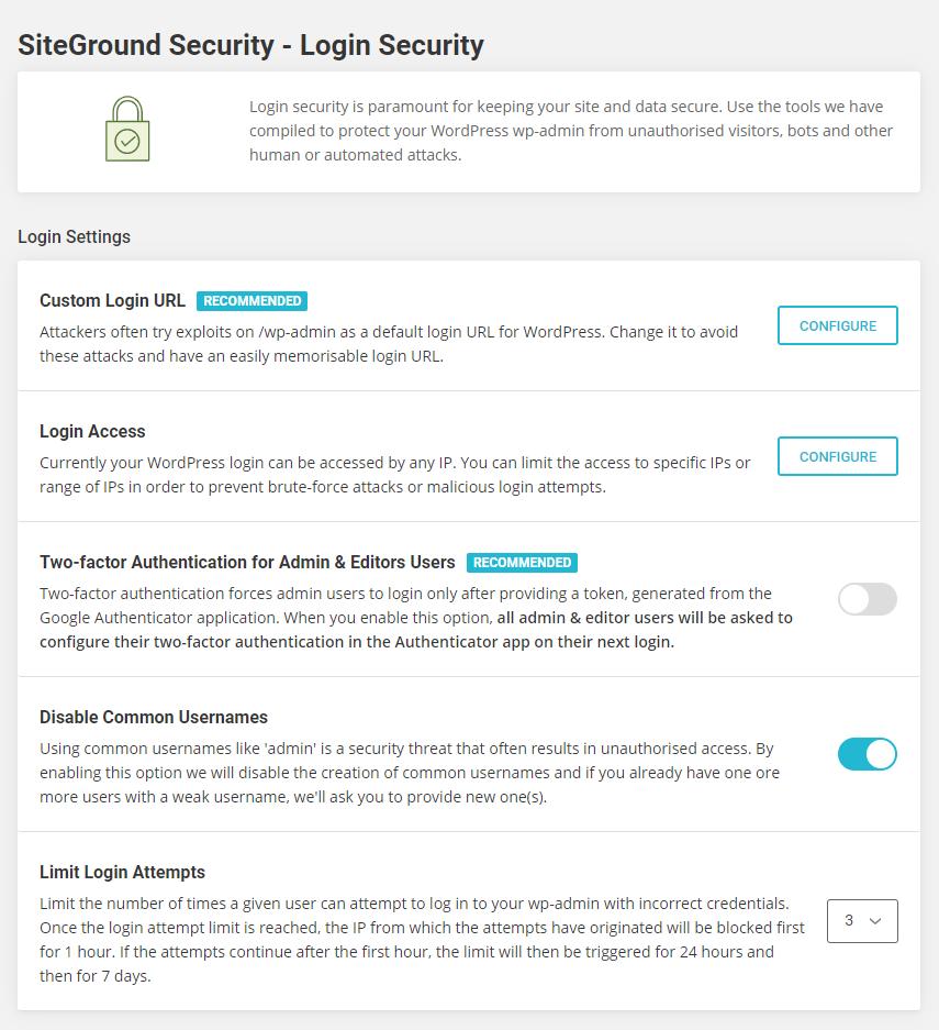 SiteGround Security - Login Security