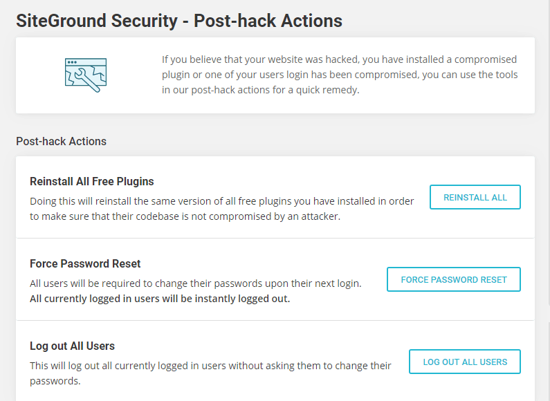 SiteGround Security - Post-hack Actions