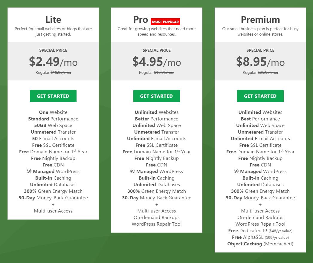 greengeeks plans price