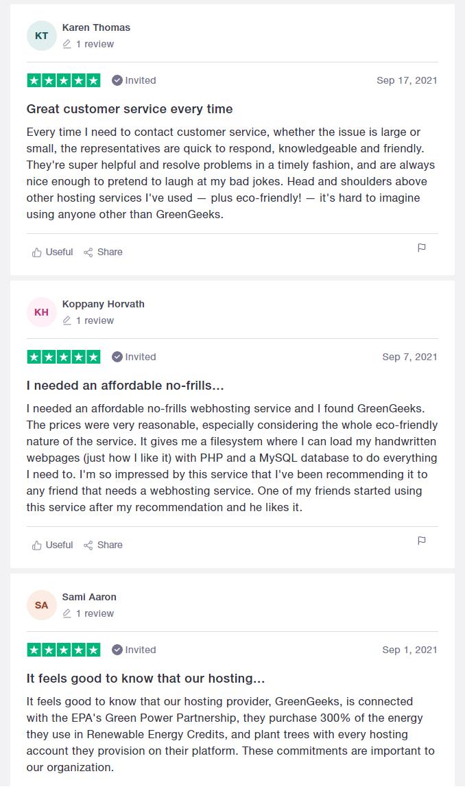 greengeeks trustpilot reviews